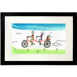 Personalized Couple Tandem Bike Framed Print