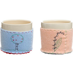 Ceramic Cups with Embroidered Cozy