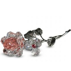 Crystal Milano Pink Rose with Metal Stem