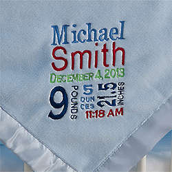 Birth Announcement Personalized Blue Baby Blanket