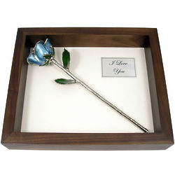 Shadow Box with Platinum Trimmed Rose