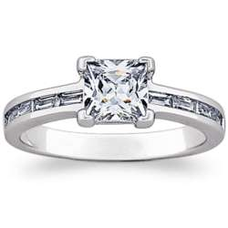 Princess-Cut Cubic Zirconia and Baguette Engagement Ring