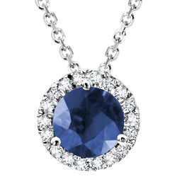 Sapphire Pendant Necklace with Diamonds