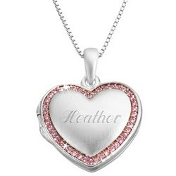 Personalized Pink Brushed Cubic Zirconia Heart Locket