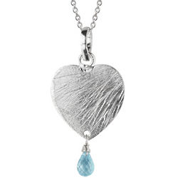 Heart Pendant in Sterling Silver with Aquamarine Dangle