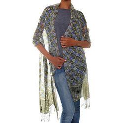 Floral Stars Handcrafted Batik Silk Shawl