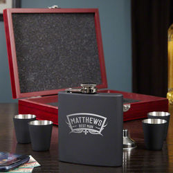 Wedding Party Engraved Flask and Shot Glasses in Black Matte