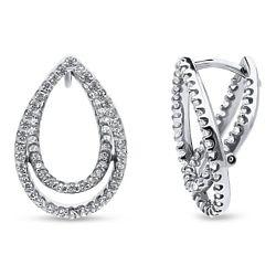 Sterling Silver CZ Teardrop Stud Earrings