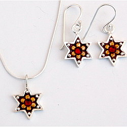 Star of David Bat Mitzvah Necklace & Earrings Set