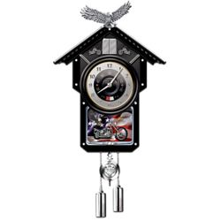 Time of Freedom Motorcycle Themed Wood Cuckoo Clock