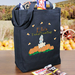 Ghostly Personalized Black Canvas Trick or Treat Bag