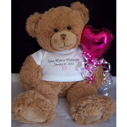 Custom New Baby Teddy Bear with Balloon