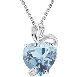6ct Aquamarine and Diamond and Heart Pendant