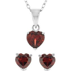 Garnet Heart Earrings and Pendant Set