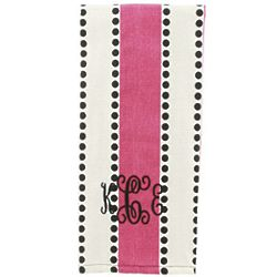 Personalized Pink Stripes Kitchen Towel