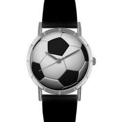 Soccer Print Watch with Leather Band
