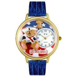 Patriotic Teddy Bear Personalized Watch