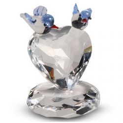 Crystal Two Birds on a Heart