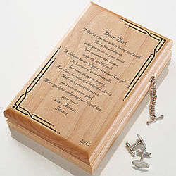 Personalized Dad's Poem Wood Valet Box