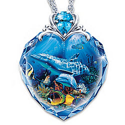 Crystal Cove Dolphin Art Pendant