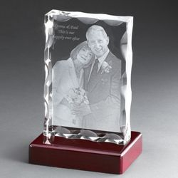 Portrait Flat 3D Photo Crystal on Rosewood Base