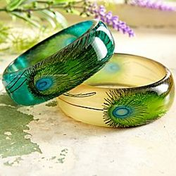 Handpainted Peacock Feather Bangles
