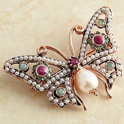 Italian Pearl and Gemstone Butterfly Pin