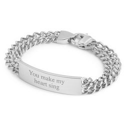 Platinum Dipped Double Link ID Bracelet