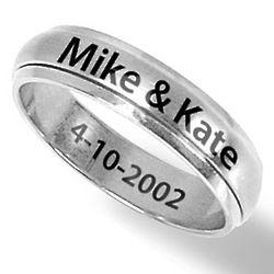 Men's Stainless Steel 8mm Engraved Spinner Ring