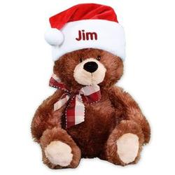 Plush Teddy Bear with Personalized Embroidered Santa Hat