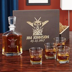 Personalized Air Force Glory Decanter Gift Set