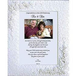 25th Anniversary Personalized Poem in Lace and Rose Frame