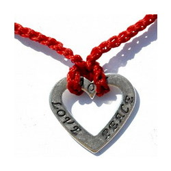 Love, Joy and Peace Heart Necklace