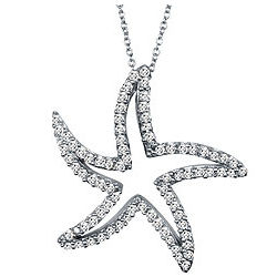 Sterling Silver and Cubic Zirconia Starfish Pendant Necklace