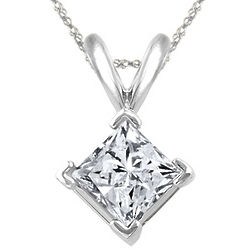 Princess Diamond Solitaire Pendant in Platinum