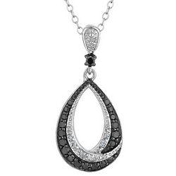White and Black Diamond Drop Pendant