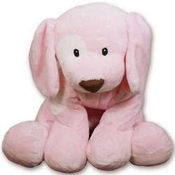 Large Pink Spunky Plush Puppy