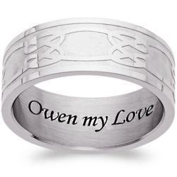 Men's Stainless Steel Celtic Knot Engraved Ring