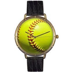 Softball Print Watch with Italian Leather Band