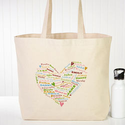 Her Heart of Love Personalized Canvas Tote Bag