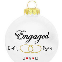 Personalized Engaged Glass Ball Christmas Ornament