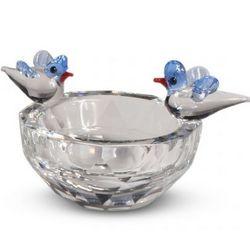 Crystal Bird Bath with Two Birds
