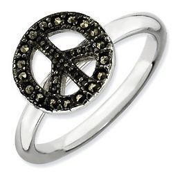Sterling Silver and Marcasite Peace Sign Ring