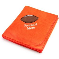 Bright Orange Fleece Blanket with Football Design
