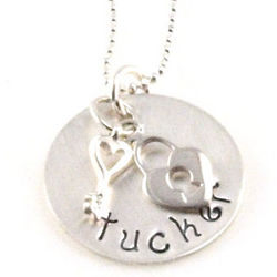 Lock and Key Personalized Hand Stamped Necklace