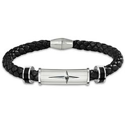 Foundation of Faith Stainless Steel and Leather Braided Bracelet