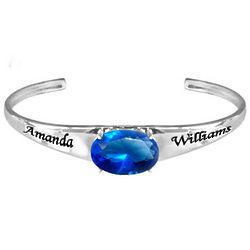 Personalized Birthstone Silver Cuff Bracelet