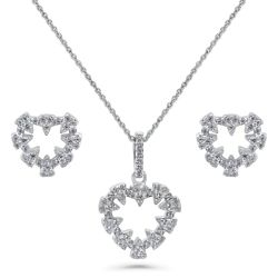 Sterling Silver CZ Open Heart Sawtooth Necklace and Earrings Set