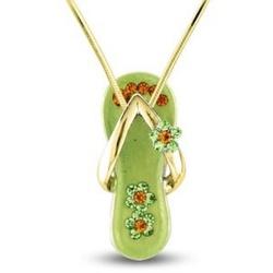 Peridot Green Flower Strap Flip Flop Necklace in Gold Plate