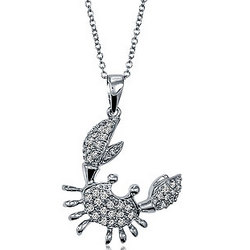 Sterling Silver and Cubic Zirconia Accent Crab Pendant with Chain